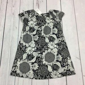 Gap Girls 2T 3T 4T 5T Black White Sunflower Dress
